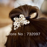 Min.order is $10(mix order) Fashion Hair Accessaries Metal Butterfly Pearl Hair Beads Elastic Ties Ponytail Holder