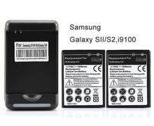 2x yiboyuan 1650 mah batería con cargador de pared para samsung s2 galaxia sii i9100 gt-i9100 envío gratis caliente venta(China (Mainland))