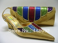 Good quality  ladies shoes and  matching bags for party --6577 Gold