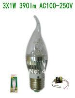 10pcs/lot Free shipping High Luminous E27 3W 3X1W  390lm Aluminum Long tail Led Candle Bulb  AC 100-240V