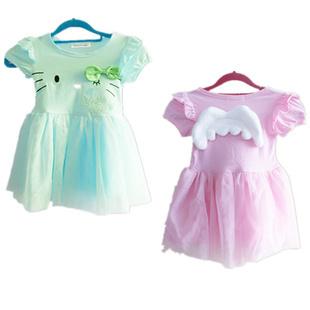 2013 Kids Cute Kitty Dress Angel Wings, Short-Sleeved Princess Dress Fit 1-5 Yrs 5 Pcs / 1 Lot(China (Mainland))
