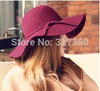 6pcs Special 2014 NEW Women Winter Wide Brim Wool Hats Ladies Floppy Wool Felt Dome Caps Womens Autumn Big Fedoras Cap Spring