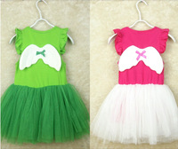 2013 Kids Pearl Necklace Dress Angel Wings, Short-Sleeved Princess Tutu Dress Fit 1-5 Yrs 5 PCS /LOT