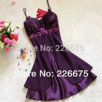 SUMMER SEXY faux silk chiffon lace spaghetti nightgown sleepwear night pajamas 10 colors M L XL Soft Comfortable