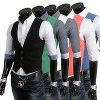 New arrival sale free shipping 2013 men's fashion casual cotton vest man leisure v neck jacket coat 9038