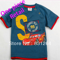 Free Shipping 2013 Summer Children's Cartoon Printed Short Sleeves T-shirt Boy's 100%Cotton Cars T-shirt