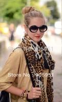 2014  scarf  brand desigual   leopard luxury shawl long scarf wholesale cotton fringe WH201309