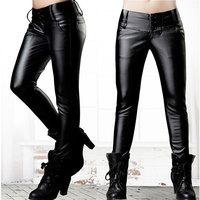 Hot Sales plus size New 2014 women elastic pu pants trousers high waist Winter Down Pants Women Warm Trousers free shipping
