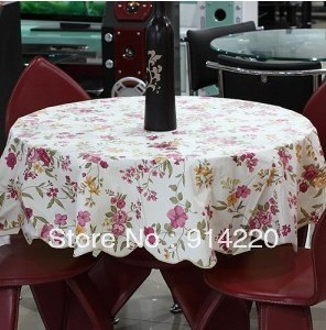 2013 New Advanced PVC Plastic + Flannel Fabric Rose Printed Nonwoven Round Waterproof Oilproof  Home tablecloths Free shipping