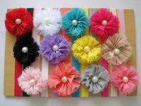 "free shipping 12pcs/lot 2.5""Chiffon Shabby Flowers with pearl(Rhinestone) baby headbands  elastic headbands flower headband"