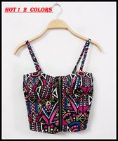 2013 women HARAJUKU style color block print slim short design crop tops spaghetti strap tube top padded bustier vest F-632