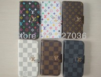 For iphone 5 5G case  flip leather case luxury,deluxe wallet leather case cover with card slot for iphone 5 5G, Free ship