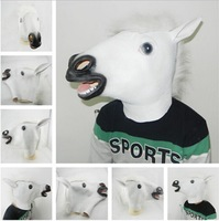 Novelty Creepy White Horse Halloween Head latex Rubber Costume Theater Prop Party Mask