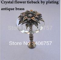 Hot!!!  High quality crystal & metal flower design finial+metal u-arm  curtain hook/ holdback by  plating  antique brass