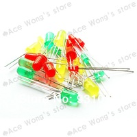 120pcs/LOT 3mm 5mm Red Yellow Green LED Round Light-emitting diode Mixed Color Free shipping