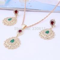 Free Shipping, Fashion Pendant Necklace Set 18k Gold Plated Green Rhinestone Beads Women Costume Pendant Jewelry Sets