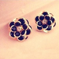 Free shipping Brand designer New fashion high quality Vintage metal flower roses  Earrings jewelry for women 2014 Wholesale PD21