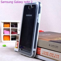 Retail 2PCS middle transparent Bumper for Samsung N7100 Galaxy Note2 case cover skin of 10th colors phone bags cases in stock