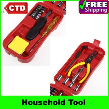 16 pcs Hardware Tool Household Combination Tool Kit Set, Pliers Tape Measure Art Knife Test Pencil Screwdriver