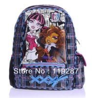 NEW! High quality 40*30*15cm oxford the monster high Girls scholl bag/Personalized shoelace design Backpack/Punk skull style bag