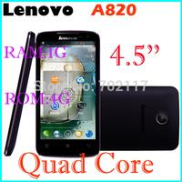 Hot selling Original Lenovo A820 A820T  phone Russian Menu phone Quad core 1.2G CPU 4.5 inch IPS 4GB ROM 1GB RAM 8MP Camera