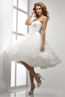 2014 Charm New Free Shipping White short cocktai gown bridesmaid dress party dress Short wedding dresses