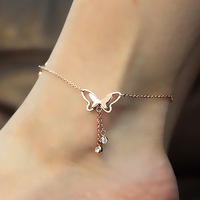 Top Quality 18KGP Gold Plated Butterfly Anklet Fashion Lady's Rose Gold Jewelry Designer Gift Free Shipping (GA004)
