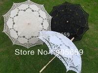 (10 pcs/lot) Handmade 38 inches White Ivory & Black Color Bridal Wedding Lace Parasols