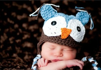 Free Shipping Wholesale 2pcs/lot  8 color in stock OWL Crochet Children Hat with Ear Animal baby cap kids hat boy girl MOQ1 pcs