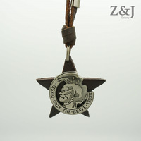 42%OFF Free Shipping, 2014 Punk Fashion Vintage Real Leather Necklace Five-Pointed Star & Skull Charms Sweater Chain Men Women
