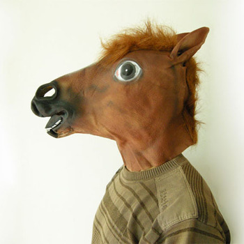 Popular Party Mask Horse Head Latex Rubber Material Halloween Costume Theater Party Birthday Head Mask