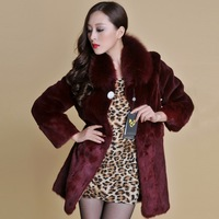 New real REX rabbit fur coat fox fur collar long winters' coat jacket women' overcoat 3 colors top quality fur 13064