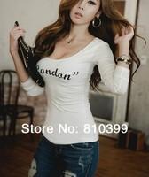 2014 New Tops Simple Fashion Women's Long Sleeve Print T Shirst T-Shirts Tops Tees S M L XL Plus Size Freeshipping#TS083