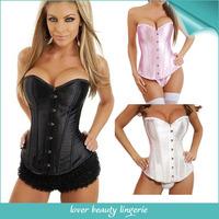 Black White Pink Satin Lace Up Boned Corset Bustier Body Shaper Underwear Lingerie Women Sexy Corselet 4177