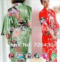 Stylish Peacock Printed Silk Rayon Satin Bathrobe Pajama Night Robes Casual Night Dressing Gown Sleepwear For Women FreeShipping