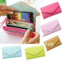 Free shipping Korean Lovely envelope Purse Wallet Case for Samsung Galaxy S3,S2,Iphone 5,4S/4 SP0260 DropShipping