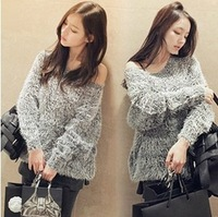Free Shipping 2013 New Winter Sweater Backing Shirt LADY Loose Ladies Keep Warm Thick Long-Sleeved Sweater Coat