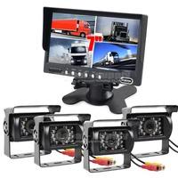 "Truck Horse Rear View Kit 7"" Split QUAD Monitor +4 x CCD Waterproof IR Night Vision Backup Camera"