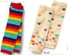 2 pairs/lot, Rainbow Strips + floral Baby Leg Warmers/Baby Socks/Brand Kids Leg Warmers/Children Knee Warmers(China (Mainland))