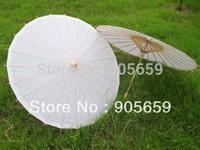 (10 pcs/lot)Hot Sale White Paper Parasols Handmade Bridal Wedding Umbrella 33 Inches Bamboo Handle Sun Umbrellas