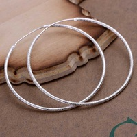 Factory price top quaility 925 sterling silver jewelry earring fine circle hoop jewelry earring free shipping SMTE044