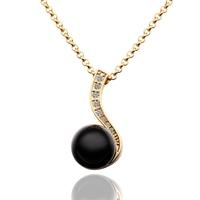 Tahitian Black Pearl Unique 18K Gold Necklace Pendant Korea Women Style Free shipping
