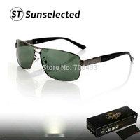 Free dropshipping 2014 New Fashion Men's Polarized Sunglasses Vintage w/ Metal Frame Square Lenses Eyeglasses PR18