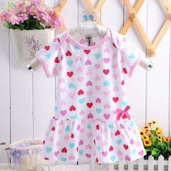 Hot! Children t-shirt dress for girl cotton rose short sleeve t-shirt cute comfortable girls shirt dress GZD-Q0004