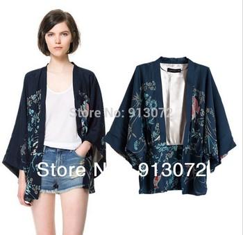 CT288 Ladies' Vintage Non-Кнопка Phoenix Pattern Свободный kimono coat jacket ...