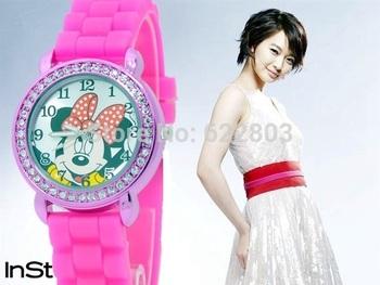 fashion girls Ladies women crystal Watch kids children cartoon silicone sport watches Free shipping