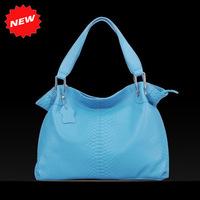 2014 Newest First Layer Genuine Leather Fashion Blue Dumplings Handbag Crocodile Pattern High Quality Shoulder Bag,Q0361