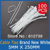 100Pcs White Nylon Cable Ties Zip Ties (5mm x 250mm) GOOD QUALITY UV Stabilised Cheap shipping