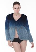 2014 Ladies' Genuine Gradient Knitted Mink Fur Jacket Coat Winter Women Fur Short Outerwear Coats Garment QD27992