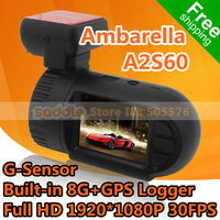 Mini 0801 Car DVR Recorder with Ambarella A2S60 + Built-in 8G + GPS Logger + Full HD 1920*1080P 30FPS + Wide Angle + G-Sensor